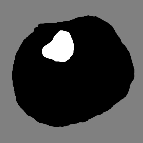 Fig. 4. Spring-onion California roll depicted in figure 2, with solid material drawn in black and pneumatic space in white.