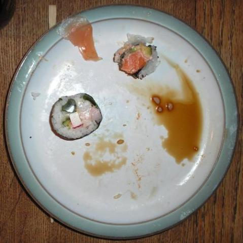 Fig. 1. Sushi plate, poorly preserved due to predation