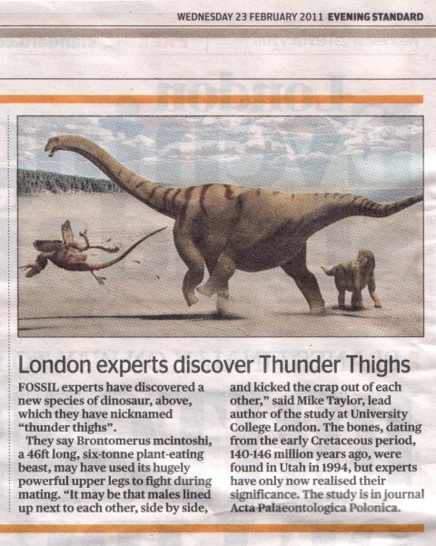 Evening Standard, Wednesday 23rd February 2011, page 2: London Experts discover Thunder Thighs