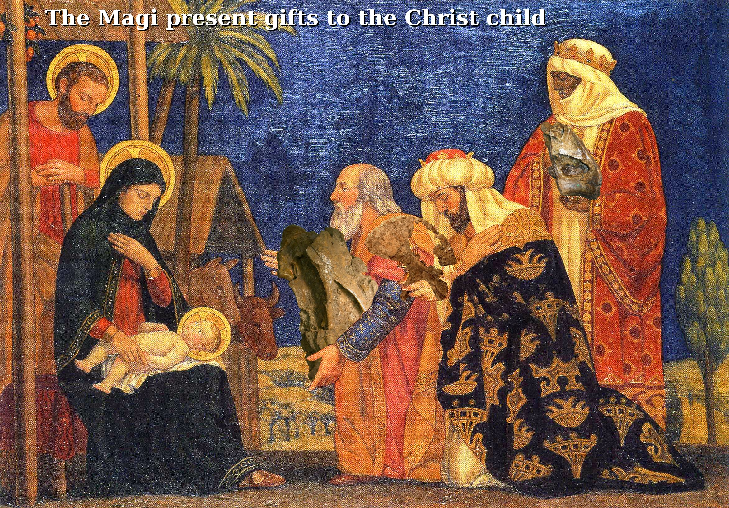 The Magi present gifts to the Christ child