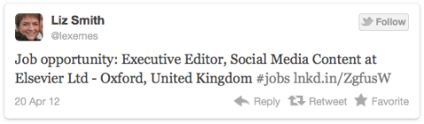 Job opportunity: Executive Editor, Social Media Content at Elsevier Ltd - Oxford, United Kingdom #jobs http://lnkd.in/ZgfusW