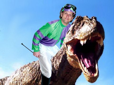 Tom Holtz on a Tyrannosaur