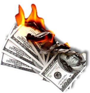 money-up-in-flames