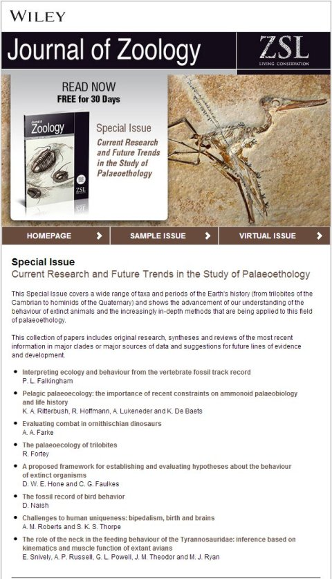 JZool paleoethology special issue