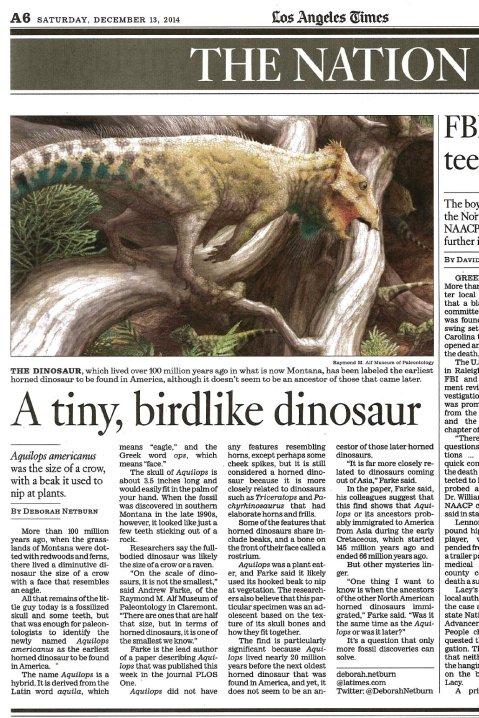 Aquilops in LA Times - scan
