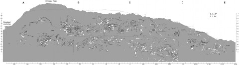 Carpenter (2013:fig 10): map of the Carnegie quarry, composited from parts A-E.