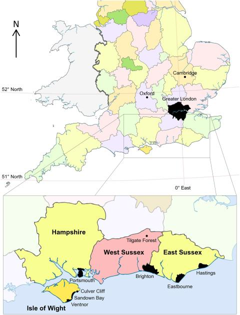 Fig 1. Map showing England and Wales, with boundaries for English counties. The magnified inset shows the Isle of Wight and East and West Sussex in more detail, marking the positions of selected major towns/cities and the fossil localities mentioned in the main text. Based on