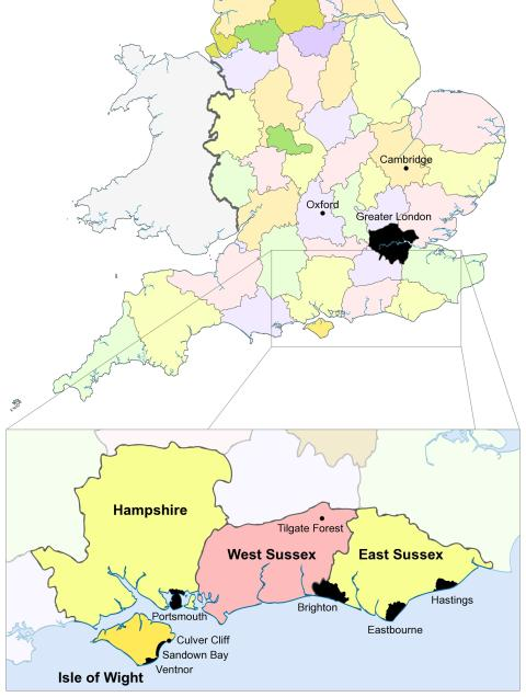 Upchurch et al. (2015: figure 1). Map showing England and Wales, with boundaries for English counties. The magnified inset shows the Isle of Wight and East and West Sussex in more detail, marking the positions of selected major towns/cities and the fossil localities mentioned in the main text. Based on