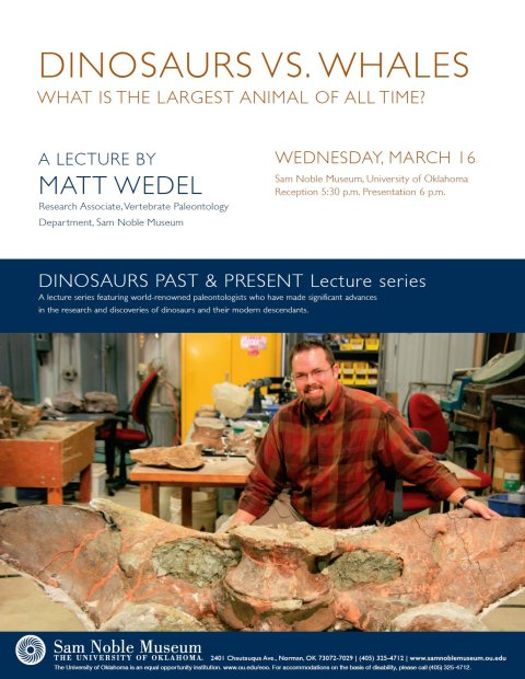 Wedel 2016 OMNH lecture flyer