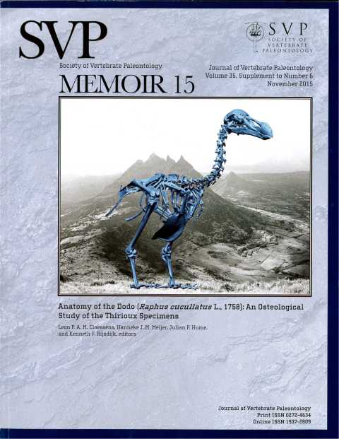 Dodo monograph cover - Claessens et al 2016