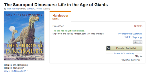 Hallett and Wedel sauropod book on Amazon