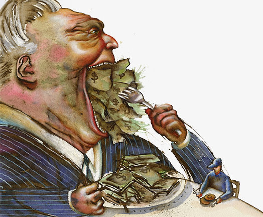 Cartoon of a giant, fat rich man in a business suit sitting at a table eating a huge pile of money. Next to him is a tiny, skinny poor person sitting in front of an empty plate